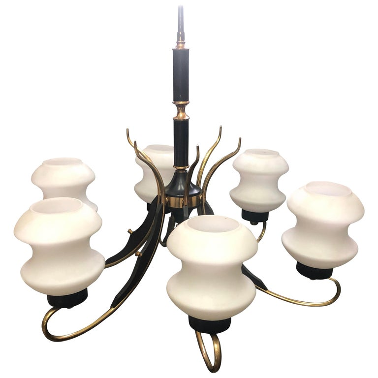 Mid-Century Modern Italian Brass Ebonized Wood and White Glass Chandelier, 1950 For Sale