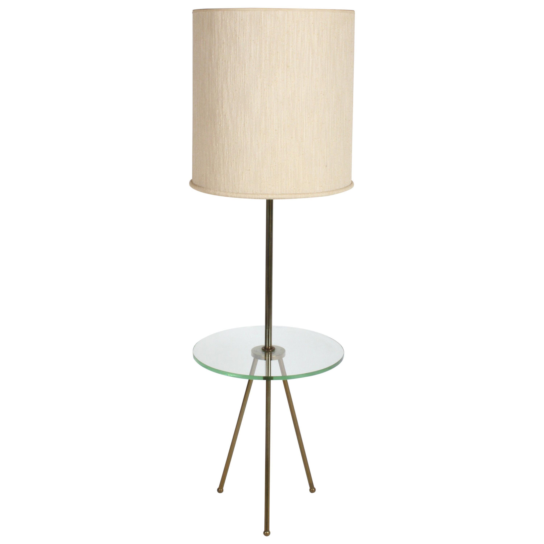 Mid-Century Modern Italian Brass Floor Lamp with Tripod Legs and Glass Shelf
