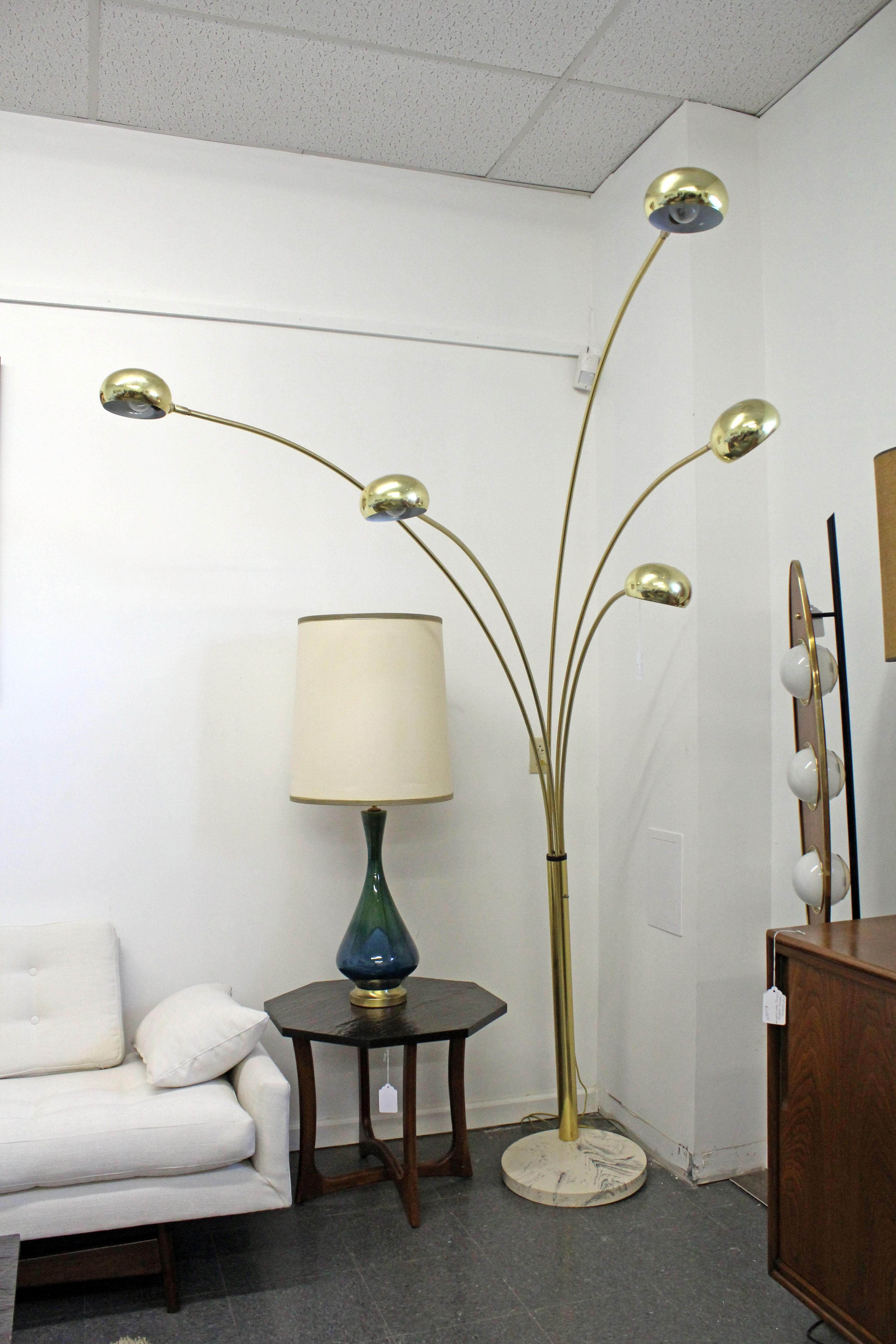 Terrific Mid Century Modern Italian Brass And Marble Guzzini Style 3 Way Arc Floor Lamp Ibusinesslaw Wood Chair Design Ideas Ibusinesslaworg
