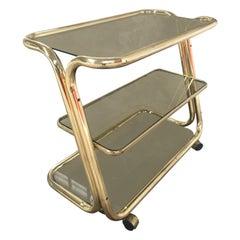 Mid-Century Modern Italian Brass Metal Bar Cart, 1970s