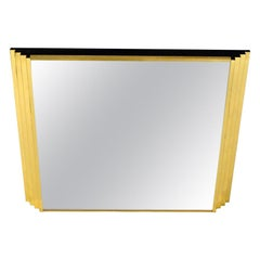 Italian Brass Mirror with Rectangular Relief Edges