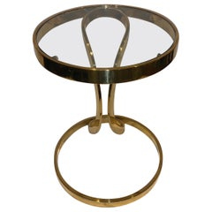 Mid-Century Modern Italian Brass Side Table with Inserted Glass Top