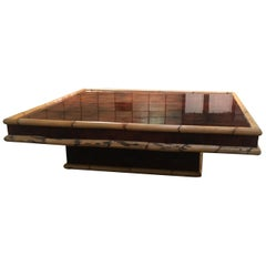 Mid-Century Modern Italian Briar-Root Coffee Table with Bamboo Frame, 1970s