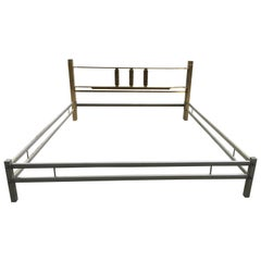 Mid-Century Modern Italian Bronze Queen Size Bed by Luciano Frigerio, 1970s