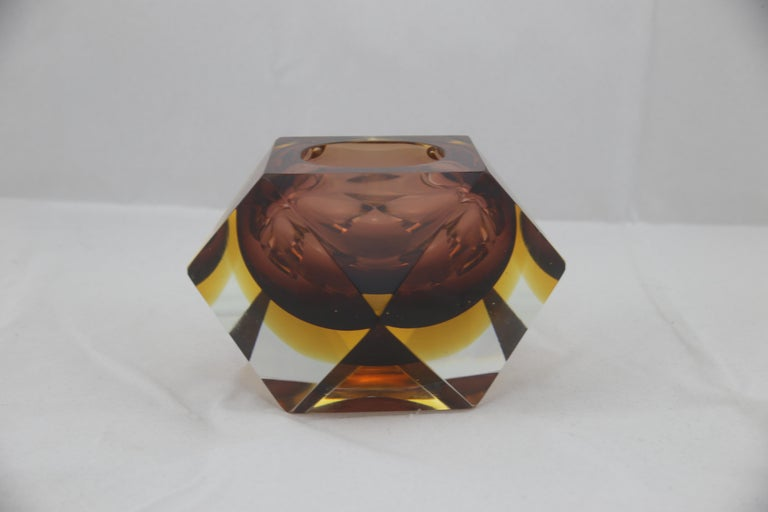 Magnific Italian Murano glass ashtray or just as decorative piece for your desk. Amazing colors and made in heavy thick Murano grass. In perfect condition.