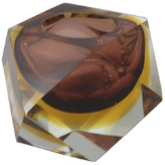 Mid-Century Modern Italian Brown Yellow and Clear Murano Glass Ashtray, 1960s