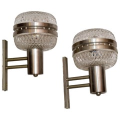 Mid-Century Modern Italian Brushed Stainless Steel & Cut Glass Sconces, Pair