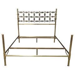 Mid-Century Modern Italian Burnished Brass Double Bed by Pomodoro and Borsani
