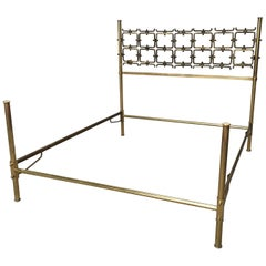 Mid-Century Modern Italian Burnished Brass Double Bed by Pomodoro and Borsani