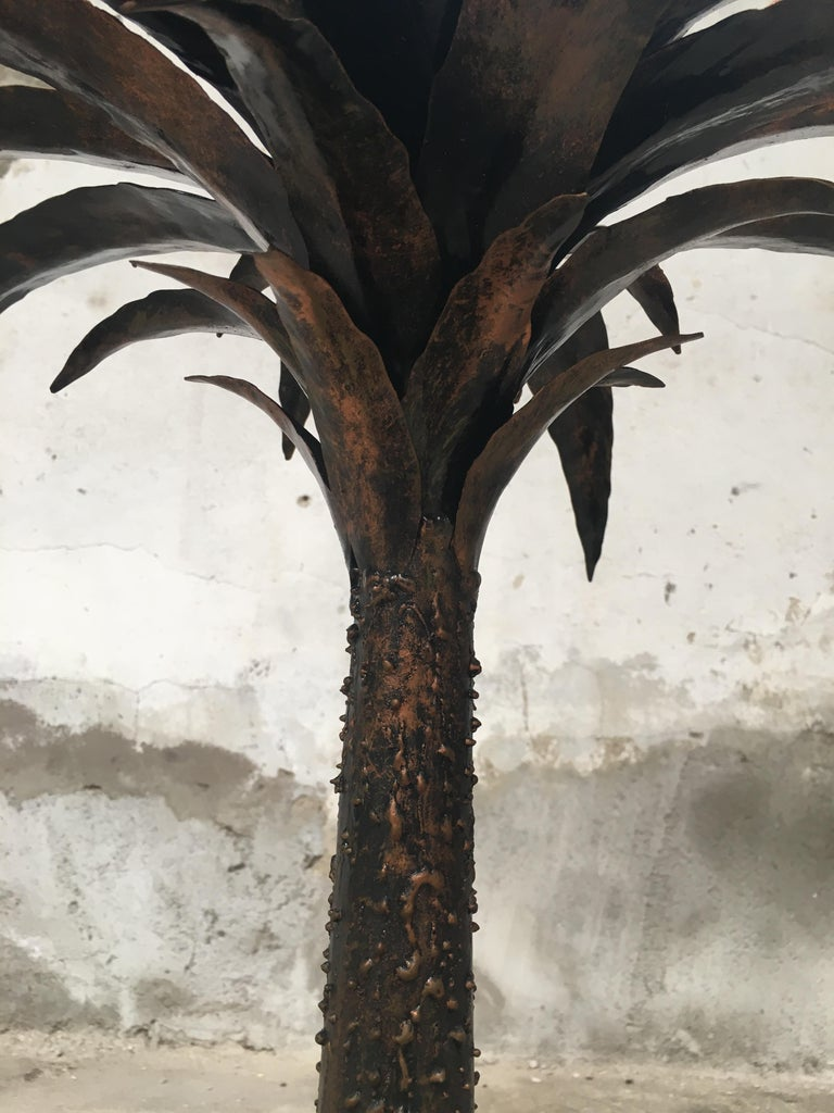 Late 20th Century Mid-Century Modern Italian Burnished Iron Palm Tree Sculpture, 1970s For Sale