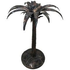 Mid-Century Modern Italian Burnished Iron Palm Tree Sculpture, 1970s
