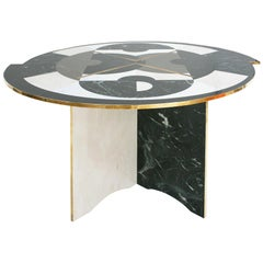 Mid-Century Modern Italian by L.A. Studio Circular Marble and Brass Table