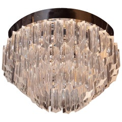 Mid-Century Modern Italian Camer Flush Mount Chandelier with Chrome Fittings