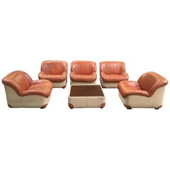 Mid-Century Modern Italian Canvas and Leather Living Room Set from 1970s