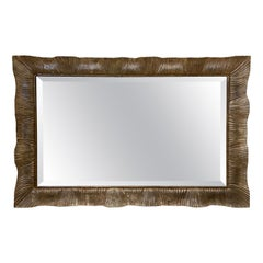 Mid-Century Modern Italian Carved Wood with Antiqued Silver Leaf Framed Mirror