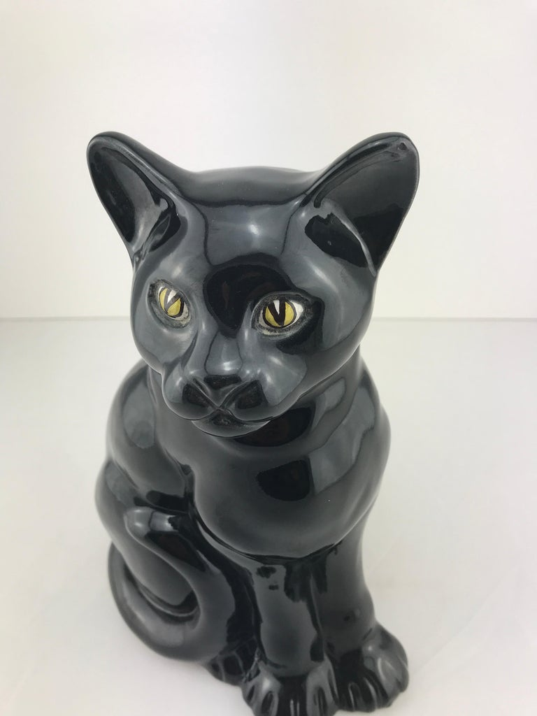 Mid-20th Century Mid-Century Modern Italian Ceramic Decorative Black Cat, 1960s For Sale