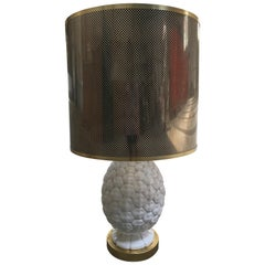 Mid-Century Modern Italian Ceramic Table Lamp with Acrylic Lampshade, 1970s