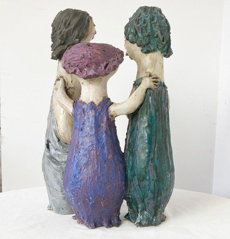 "Beautiful and rare Renato Bassoli Signed ceramic sculture.  ""Tre Donne"" with irony.   Bio: Renato Bassoli (1915-1982, Milan) was an Italian sculptor, ceramicist, and furniture and jewelry designer. Bassoli was born in Milan and studied, lived"