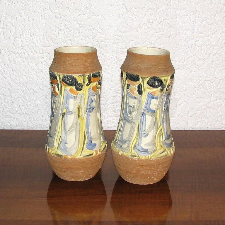 Glazed Mid-Century Modern Italian Ceramic Vases For Sale