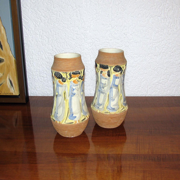 Mid-20th Century Mid-Century Modern Italian Ceramic Vases For Sale