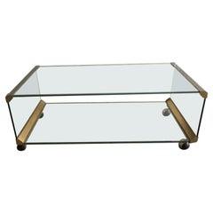Mid-Century Modern Italian Chrome and Glass Coffee Table by Gallotti & Radice