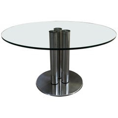 "Mid-Century Modern Italian Chrome and Glass Table model ""Marcuso"" 2532 by Zanuso"