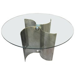Mid-Century Modern Italian Chrome Base Dining Table with Glass Top, 1970s