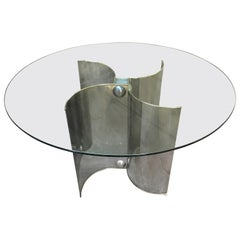 Mid-Century Modern Italian Chrome Base Dining Table with Round Glass Top, 1970s