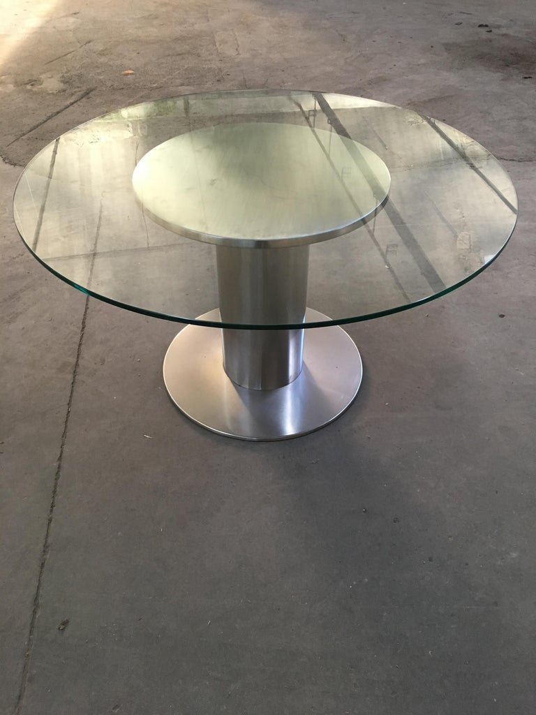 Mid-Century Modern Italian chrome dining or side table with glass top, 1970s.