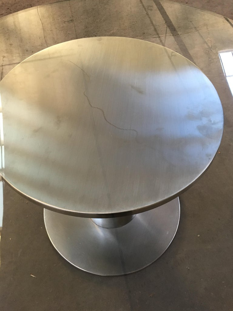 Late 20th Century Mid-Century Modern Italian Chrome Based Dining or Side Table with Round Glass For Sale