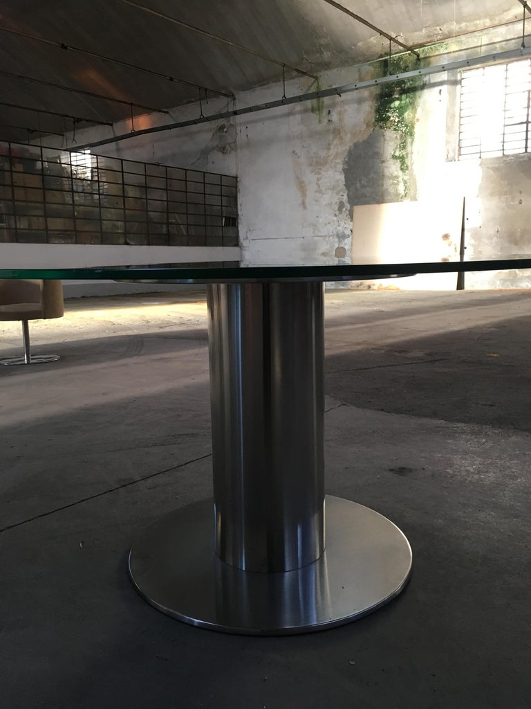 Stainless Steel Mid-Century Modern Italian Chrome Based Dining or Side Table with Round Glass For Sale