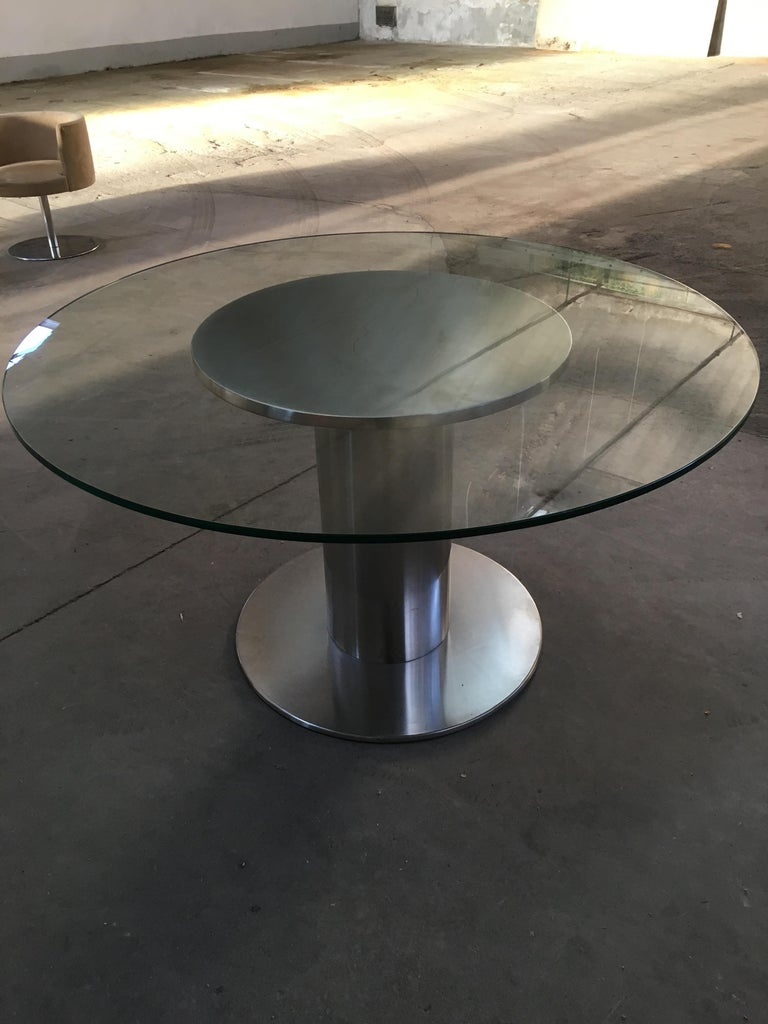 Mid-Century Modern Italian Chrome Based Dining or Side Table with Round Glass For Sale 2
