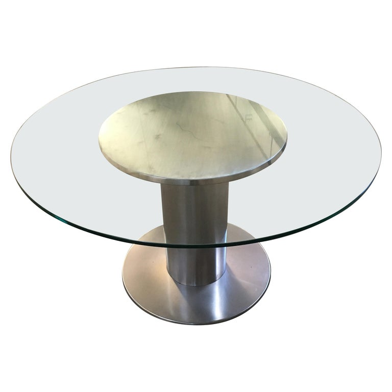 Mid-Century Modern Italian Chrome Based Dining or Side Table with Round Glass For Sale