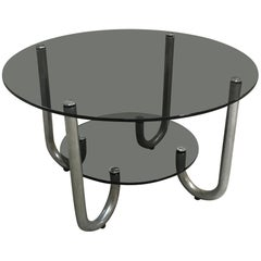 Mid-Century Modern Italian Chrome Coffee Table with Smoked Glass Top, 1970s