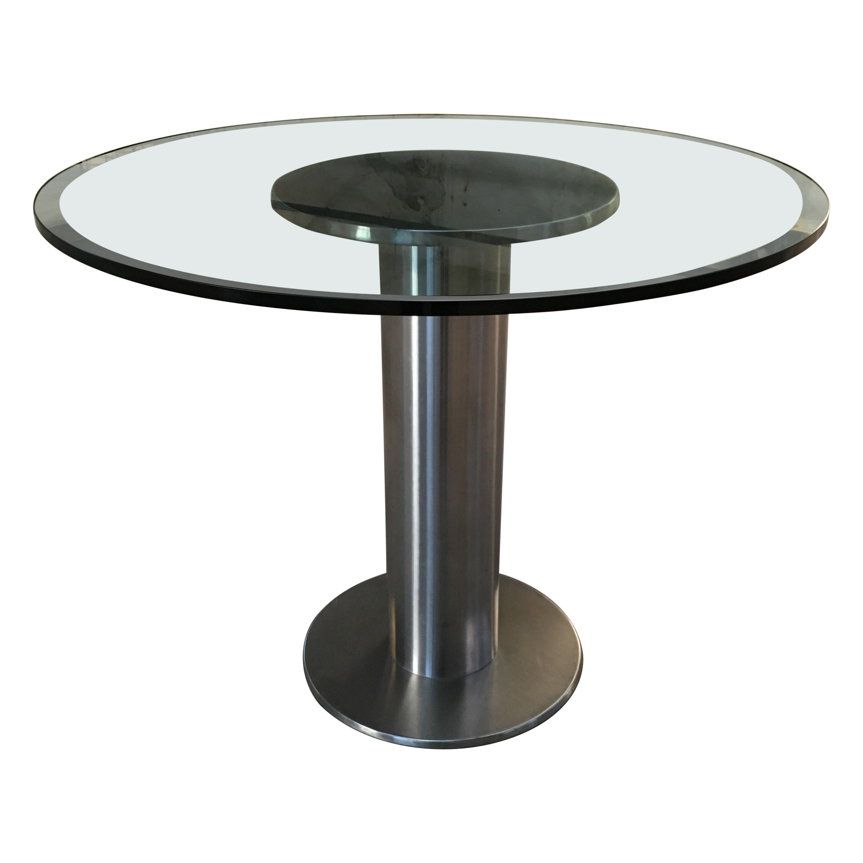 Mid-Century Modern Italian Chrome Dining or Center Table with Glass Top, 1970s