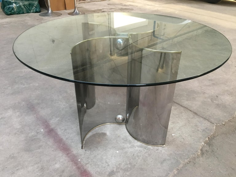 Mid-Century Modern Italian chrome dining or center table with glass top and brass edges, 1970s.