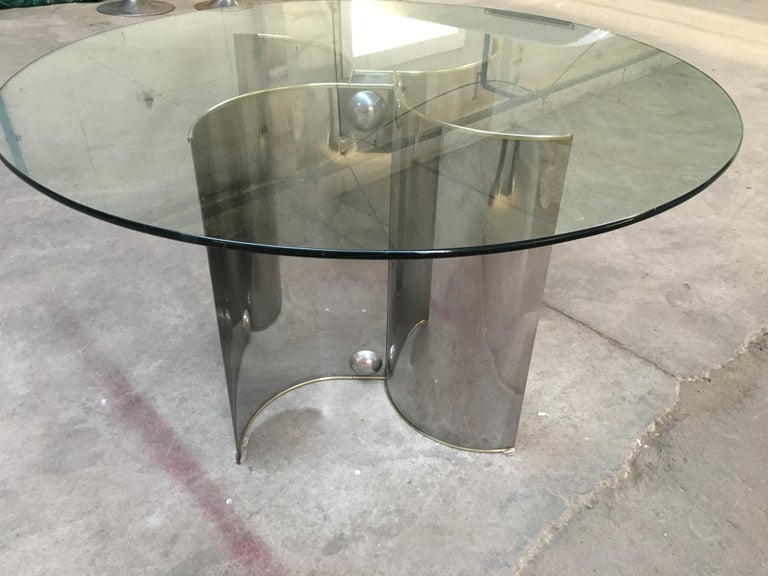 Mid-Century Modern Italian Chrome Dining or Center Table with Glass Top In Good Condition For Sale In Prato, IT