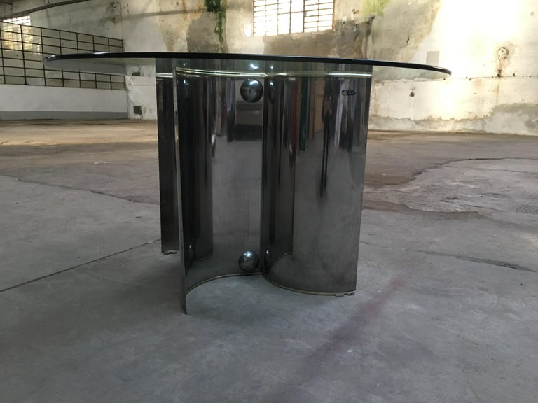 Late 20th Century Mid-Century Modern Italian Chrome Dining or Center Table with Glass Top For Sale