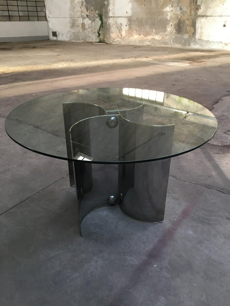 Brass Mid-Century Modern Italian Chrome Dining or Center Table with Glass Top For Sale