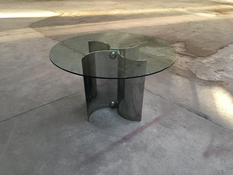Mid-Century Modern Italian Chrome Dining or Center Table with Glass Top For Sale 1