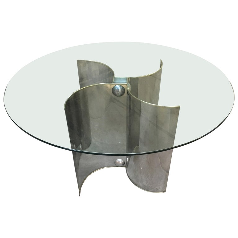 Mid-Century Modern Italian Chrome Dining or Center Table with Glass Top For Sale