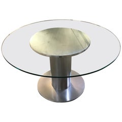 Mid-Century Modern Italian Chrome Dining or Side Table with Glass Top