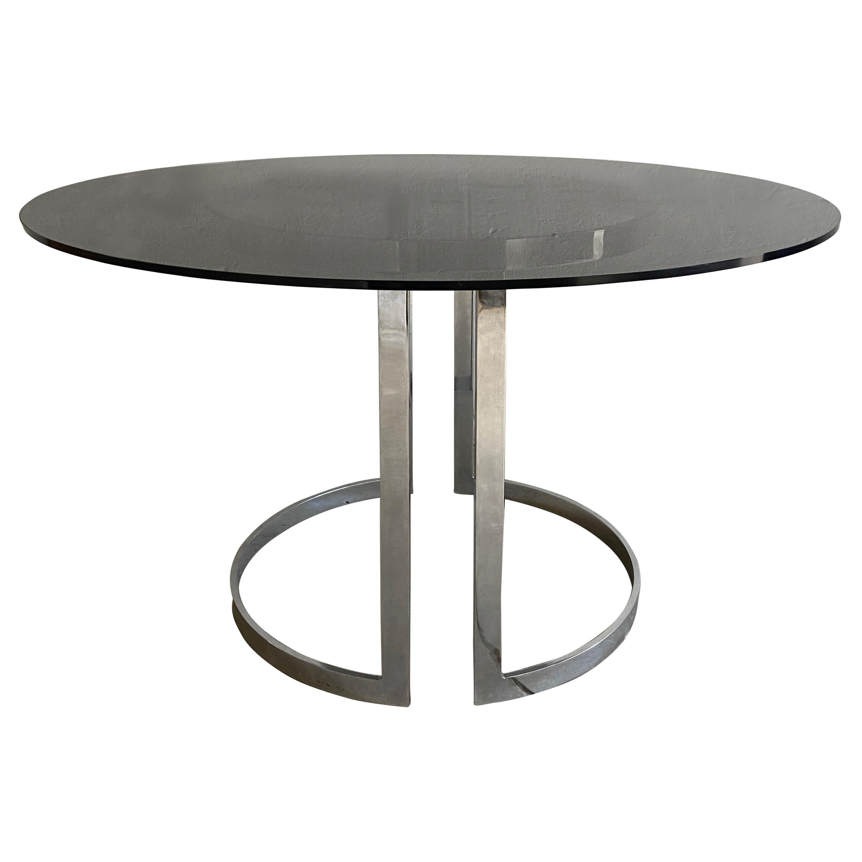 Mid-Century Modern Italian Chrome Dining Table with Smoked Glass Top, 1970s