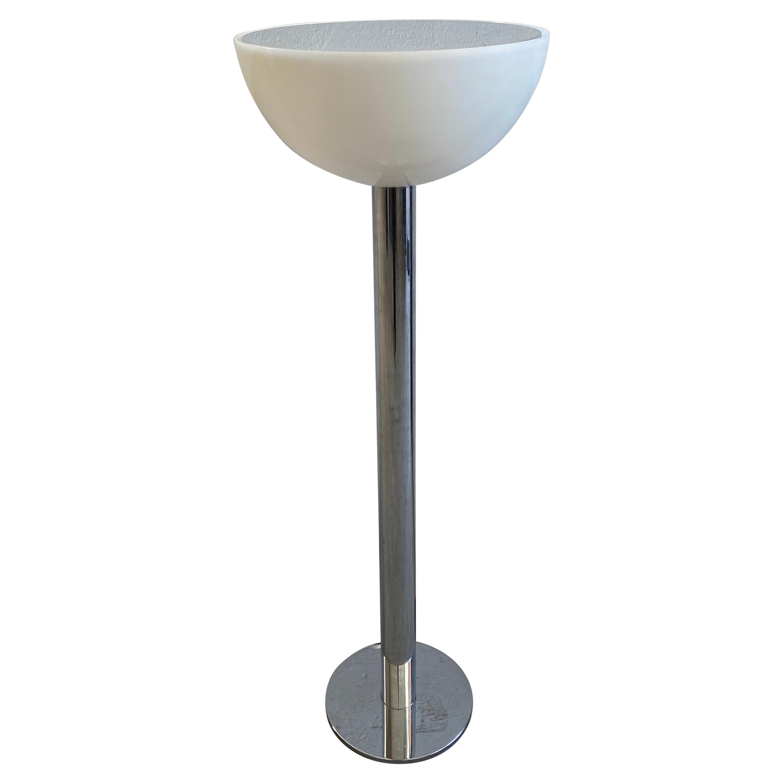 Mid-Century Modern Italian Chrome Floor Lamp with Acrylic Lampshade, 1970s