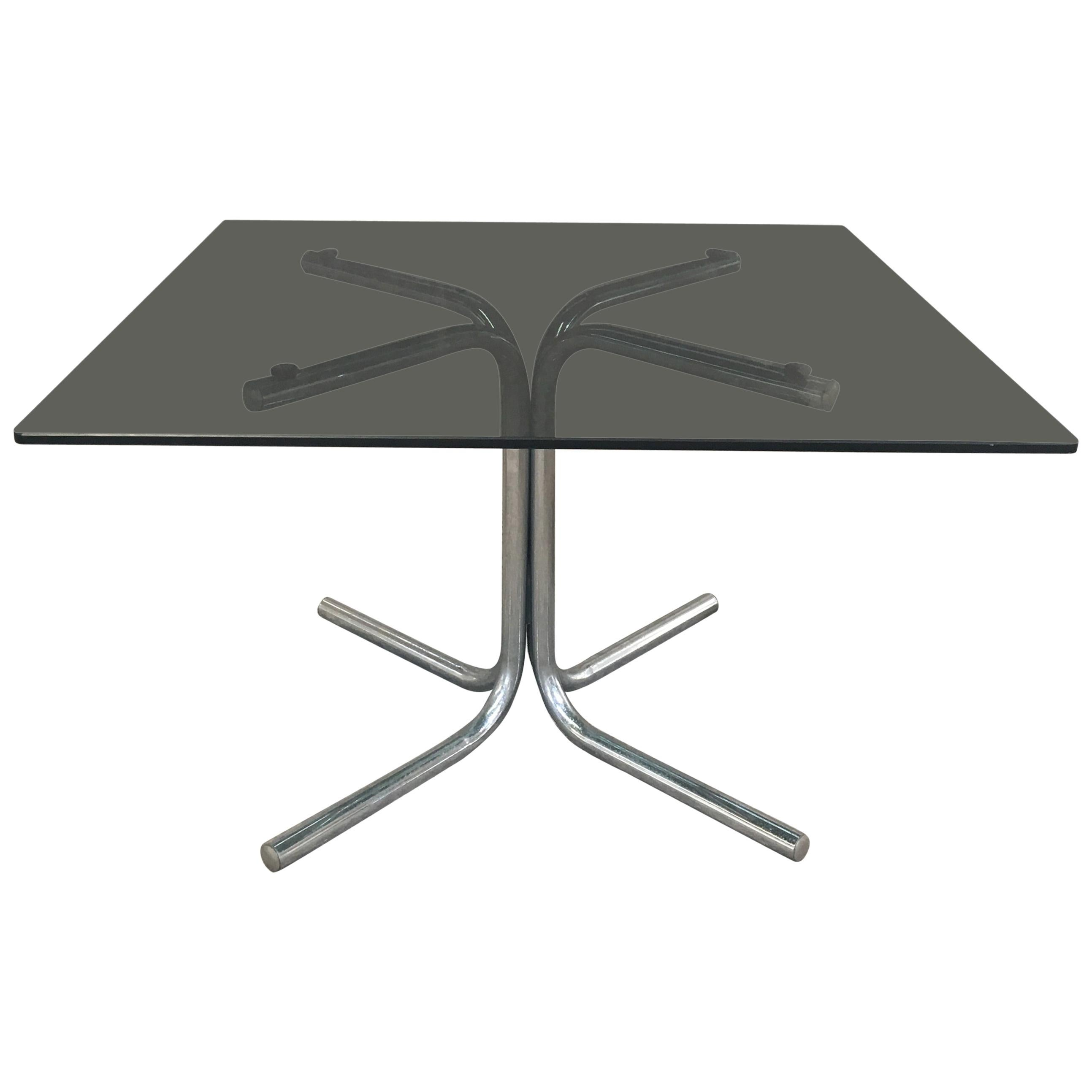 Mid-Century Modern Italian Chrome Side or Coffee Table with Smoked Glass Top
