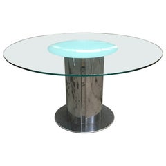 "Mid-Century Modern Italian ""Cidonio"" Stainless Steel and Glass Table by Cidue"