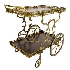 Mid-Century Modern Italian Classic Style Walnut and Brass Bar Cart, 1950s