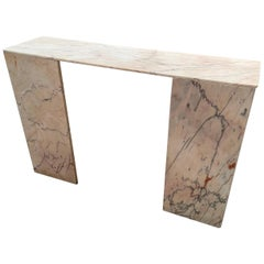 Mid-Century Modern Italian Console Table in Pink Portuguese Marble. 1970s