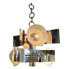 Mid-Century Modern Italian Curved Chrome and Four Large Modern Bulbs Chandelier