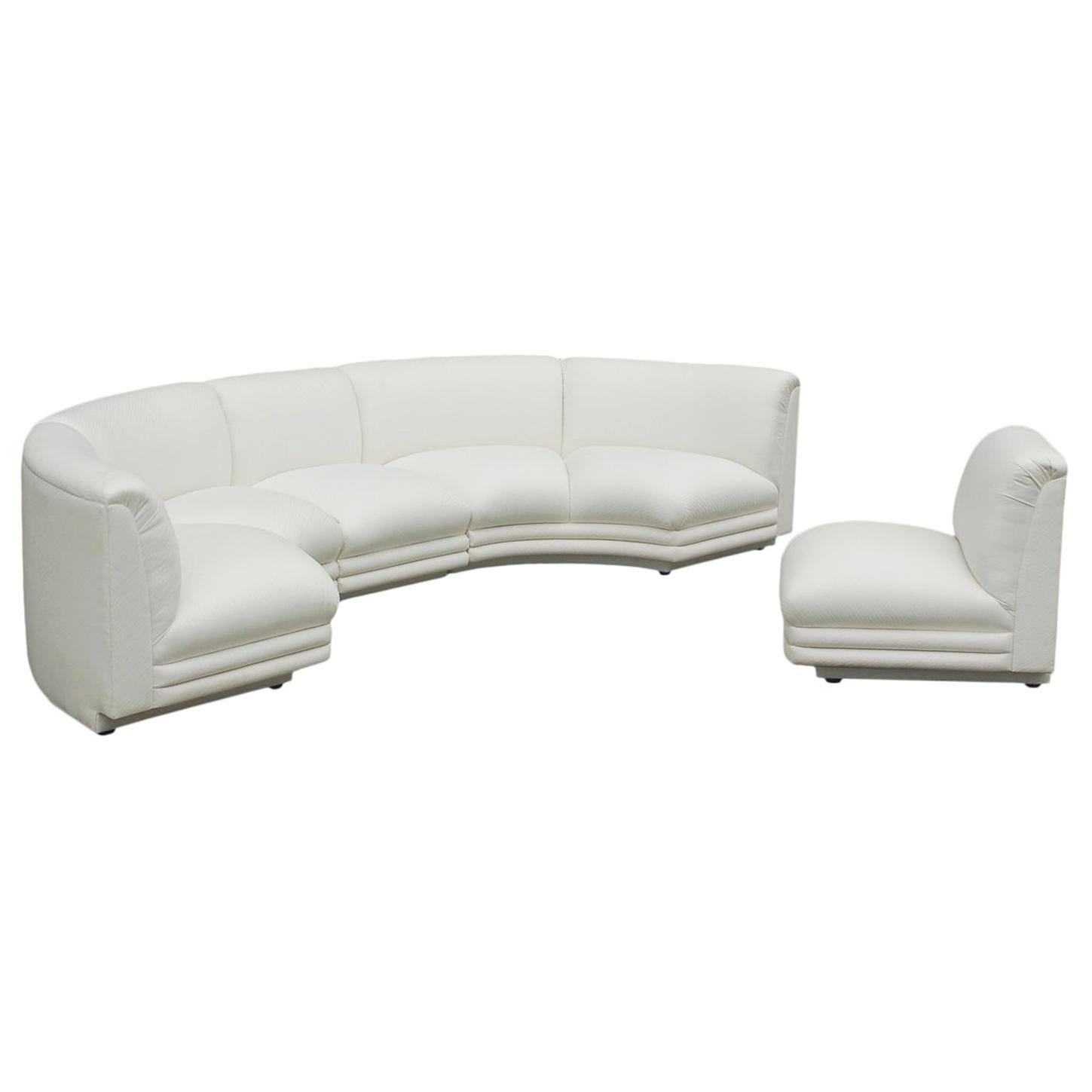 Mid-Century Modern Italian Curved Semi Circular Sectional Sofa in White Fabric